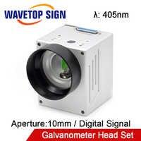 WaveTopSign 405nm อินพุต Aperture10mm ดิจิตอลความเร็วสูงสัญญาณเลเซอร์สแกน Galvanometer ชุดหัวชุดจ่ายไฟ