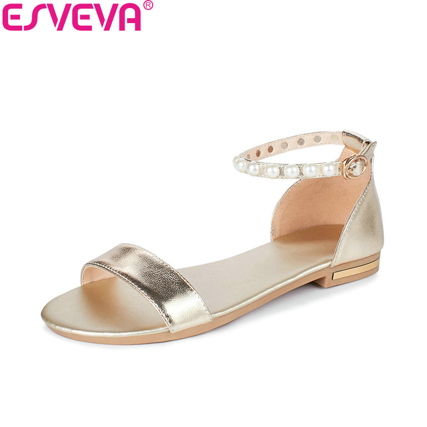 ESVEVA 2018 Women Sandals Cow Leather Gold PU Sandals Sandals Shoes Comfortable To Wear Low Heel Summer Women Shoes Size 34-43 xiuningyan horsehair sandals women flat heel sandals fashion summer low heel shoes woman sandals summer plus size free shipping