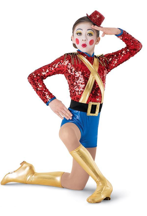 Costume de Clown de justaucorps à paillettes avec manches longues
