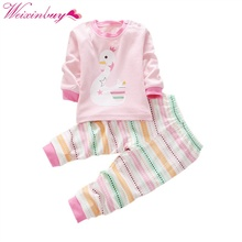 2 pcs Infant Kids Baby Long Sleeve Shirt+Pants Toddler Pajamas Set Sportsuit