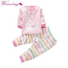 Купить с кэшбэком 2 pcs Infant Kids Baby Long Sleeve Shirt+Pants Toddler Pajamas Set Sportsuit