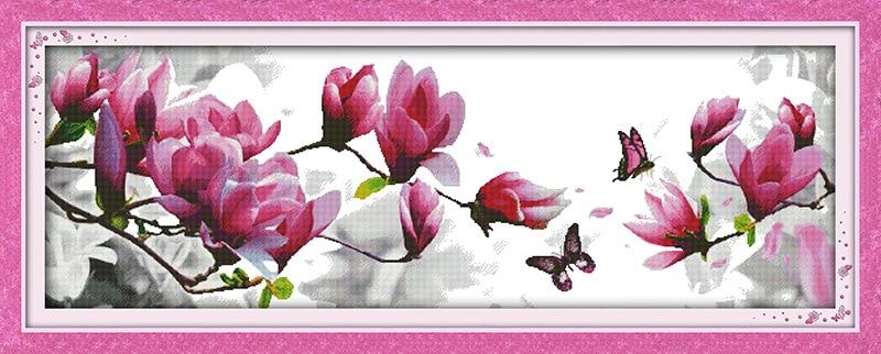 Piękny kwiat magnolii drukowane płótno DMC Counted chiński Cross - Sztuka, rękodzieło i szycie - Zdjęcie 5