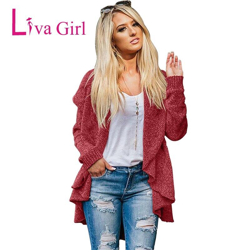 LIVA fille hiver veste décontractée Cardigans tricotés femmes automne à manches longues Chenille noir chandails bref drapé Sueter Mujer XXL