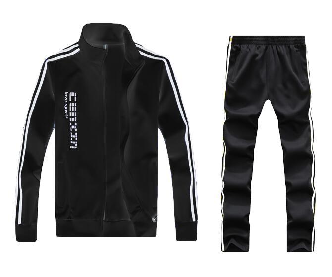 Men Full Outdoor Gym TrackSuit Sport Jacket Coat Bottom Top Suit Trousers Pants Track Suit Outfit 5 Colors