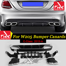 High Quality Rear Bumper Diffuser Lip For Mercedes Benz W205 ABS C Class C180 C200 C250 C300 C63 2015-in 4-Outlet Endpipe Exhaus стоимость