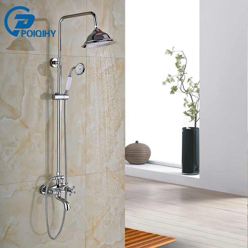 POIQIHY Ceramic handle Polished Chrome Shower Faucet Set Mixer Tap Wall Mounted Shower Faucet Round Rainfall Shower Head bathroom faucet modern round 8 shower head set faucet shower set polished chrome dual handle wall mounted shower mixer tap