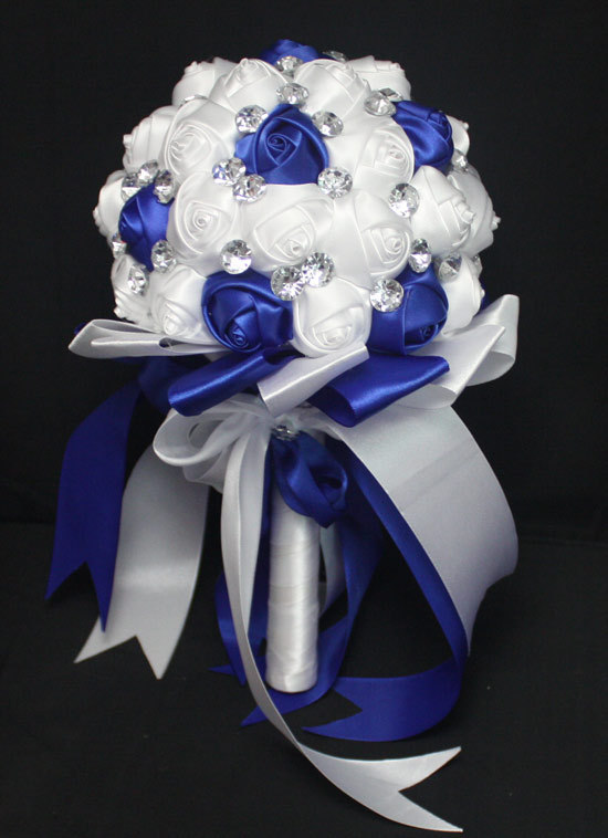 Romantic royal blue white bridal bridesmaid wedding bouquet fake romantic royal blue white bridal bridesmaid wedding bouquet fake rose silk decoration bouquet in wedding bouquets from weddings events on aliexpress mightylinksfo