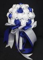 Romantic Royal Blue & White Bridal Bridesmaid Wedding Bouquet Fake Rose Silk Decoration Bouquet