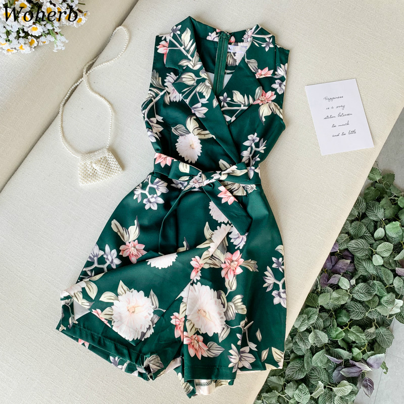 Woherb Women Beach Floral Print Rompers Female 2020 Summer Short Jumpsuit Sleeveless Overalls Elegant Office Work Playsuit 39986