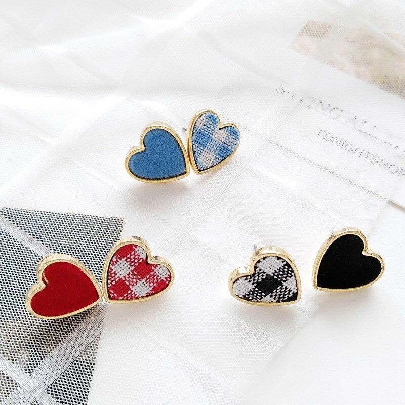 New Korean Fashion Romantic Heart Red Black White Grid Stud Earrings Tiny Cute Cloth Love Heart Earrings in Stud Earrings from Jewelry Accessories