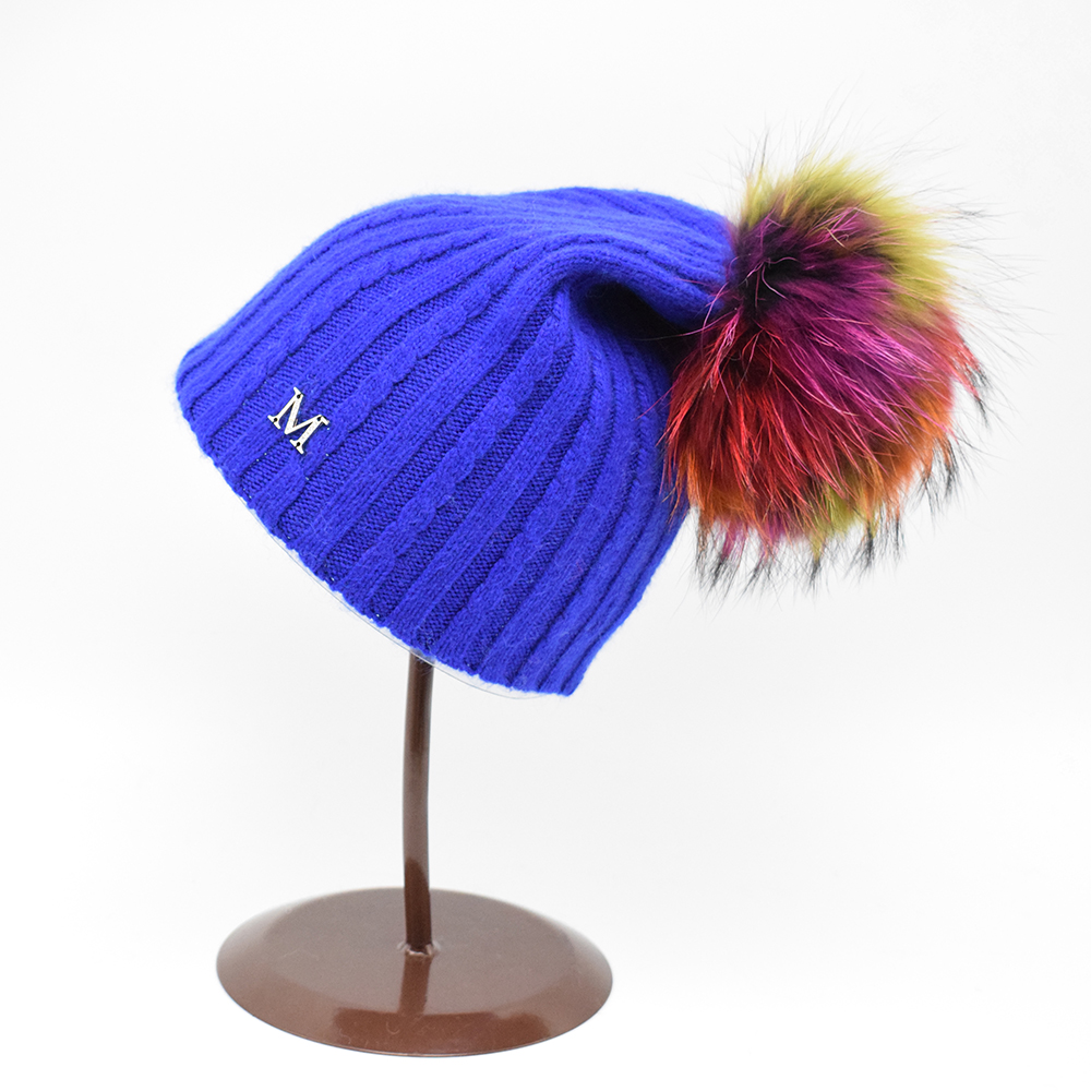 2016 European style Winter 22CM raccoon fur pompoms Wool hat female casual Beanie caps Solid color