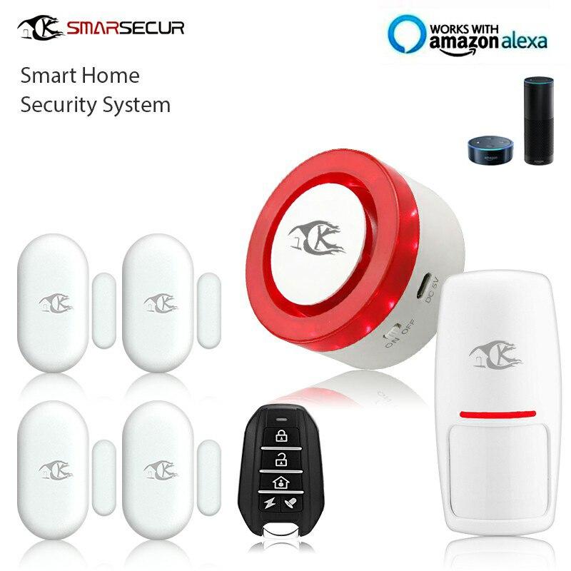 Sans fil Intelligent alarme sirène système de sécurité de maison Auto-cadran Mouvement Détection fonctionne avec Smart vie App Contrôle