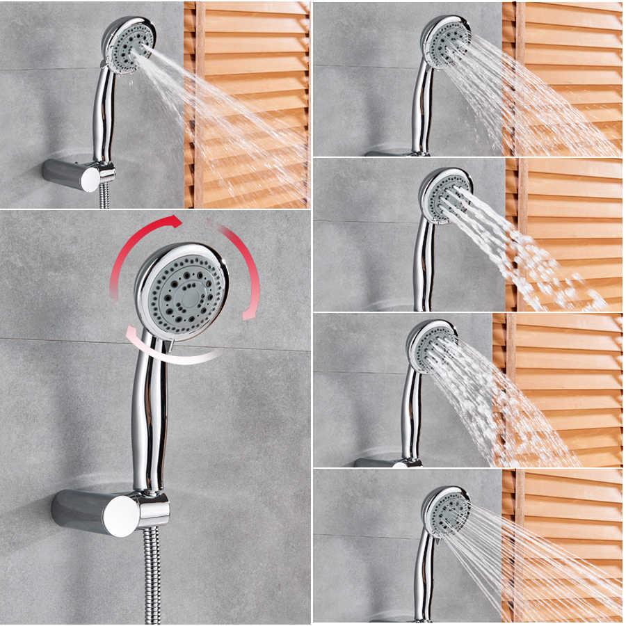 Beyaz şelale bacalı küvet musluk duvara monte çok fonksiyonlu elduşlu banyo duş seti tek kolu banyo küvet mikser musluk dokunun