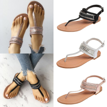 T-Strap Shoes Women Sandals Summer Flat Sandals 2019 Bohemian Flip Flops Women Shoes Roman Casual Beach Sandal Slip-On P30