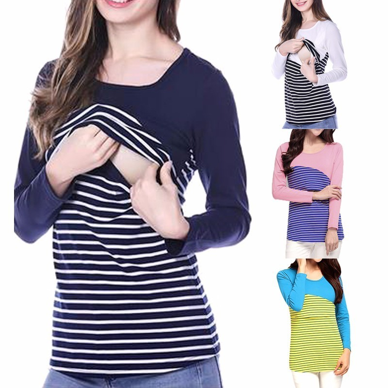 Plus Size Long Sleeves Maternity Clothes O Neck Striped Nursing Breastfeeding Tops T-shirt For Pregnant Women