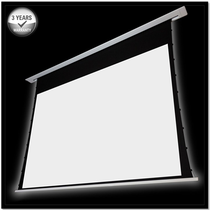 92 16:9 4K Recessed In-ceiling Electric Tab tensioned Projection Projector Screen with aluminum casing/ multi controls