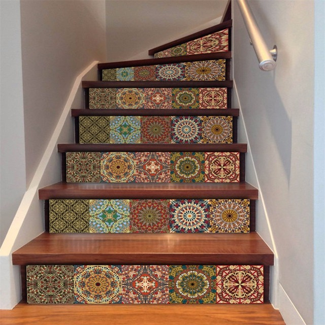Yanqiao 3d Stair Sticker Steps Mix Pattern Mexican Style Home Mural