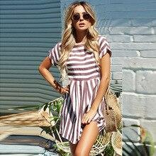 Women Summer Beach Dress A-Line Striped Short Sleeve O-Neck Print Dresses Casual Mini Style Dress 2019 Sexy Sundress