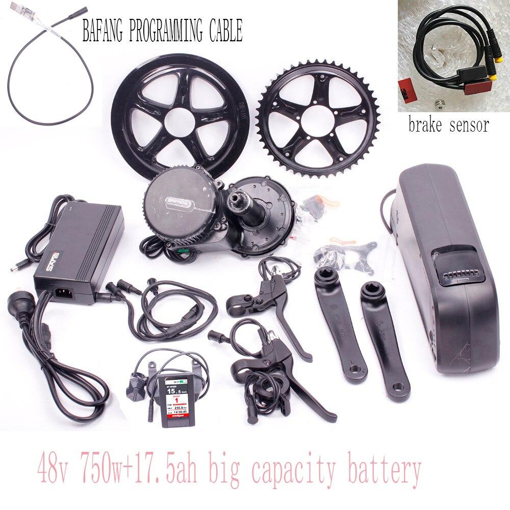 цена на 48V 750W bafang mid motor kit/new design mid motor kit with color display with 17.5AH  battery+ bafang USB cable +brake sensor