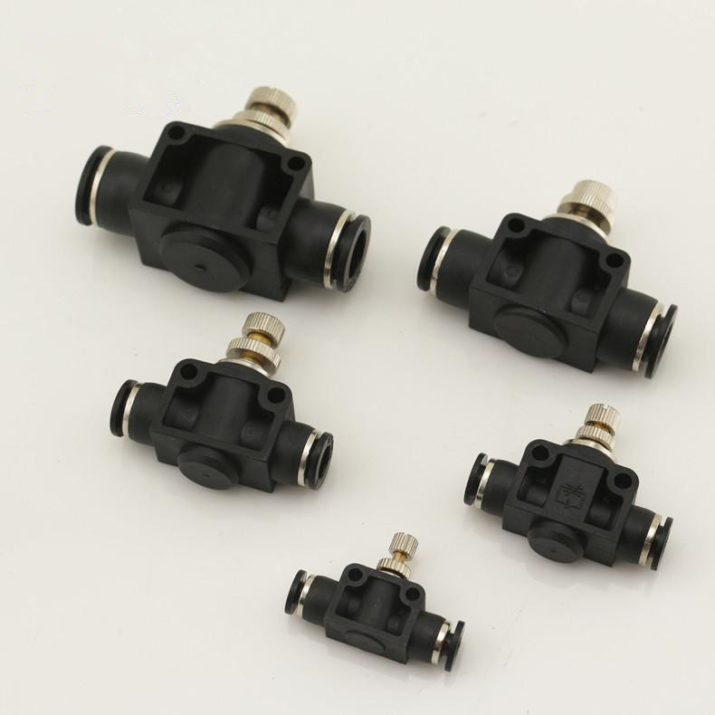 Free shipping 2pcs/set throttle valve 4mm-12mm Air Flow Speed Control Valve Tube Water Hose Pneumatic Push In Fittings g1 2 one way throttle pneumatic flow control valve asc 15