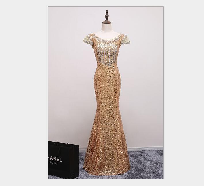 Image 2 - Cap sleeves rhinestone beading evening dresses long luxury Sequin  Mermaid Long Evening Dress golden