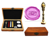 Vintage Camera Custom Luxury Wax Seal Sealing Stamp Brass Peacock Metal Handle Sticks Melting Spoon Wood