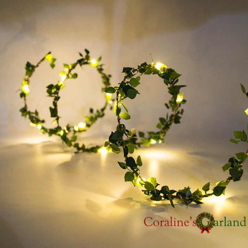 2M 5M 10M Outdoor LED Leaf Twine Fairy String Lights With Battery Operate For Rustic Wedding Holiday Party Event Decoration