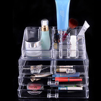 Acrylic Clear Cosmetic Makeup Organizer 3 Drawers Jewelry Display Holder Lipstick Brush Storage Box