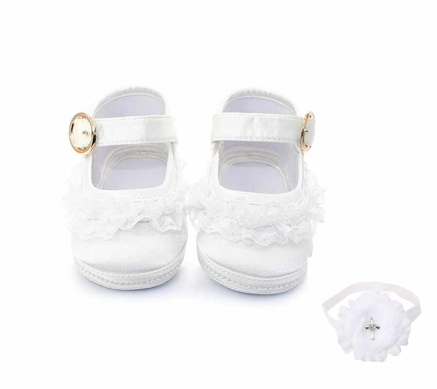 Delebao White Lace Metal Hook & Loop Christening Baptism Baby Girl Shoes + Baptism Hair Accessory For 0-12 Months