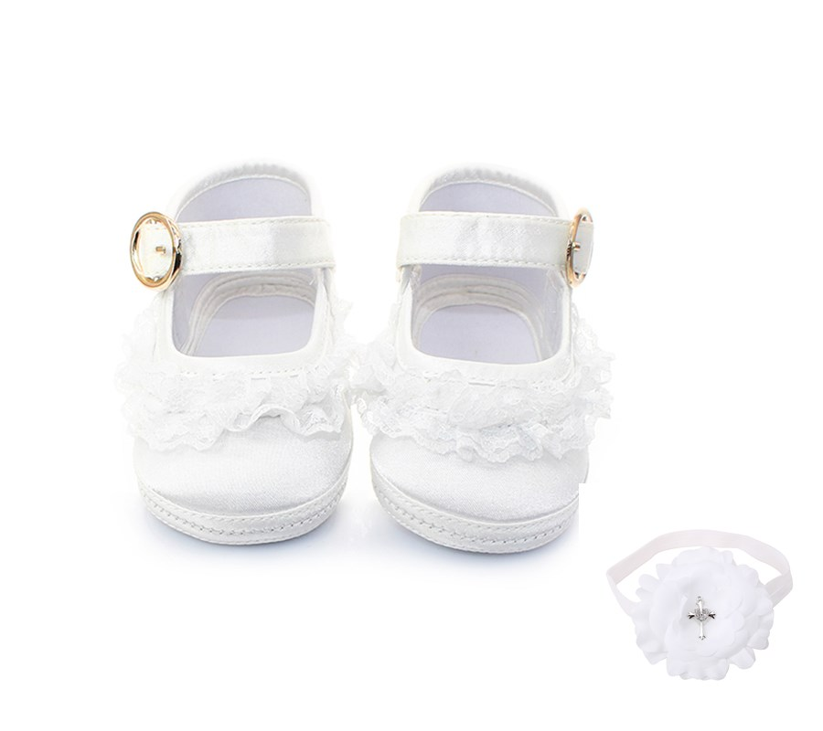 Delebao White Lace Metal Hook & Loop Christening Baptism Baby Girl Shoes + Baptism Hair  ...