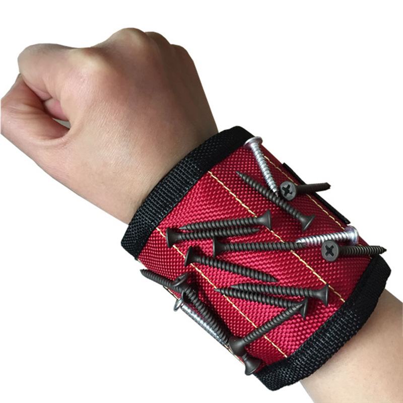 Polyester Pouch Magnetic Wristband Carpenter Electrician Tool Bag With Strong Magnet Drill Screw Wrist Band Holder For Repair