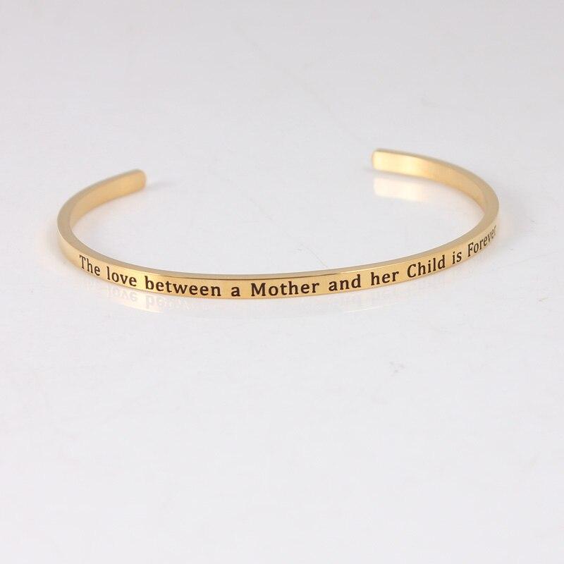 Bracelet de barre d'acier inoxydable de la couleur 316L d'or bracelets pour femme de Mantra de manchette d'inspiration Positive - 6