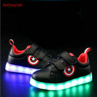 Captain America Children Glowing Shoes Led Luminous Sneakers Boys Girls USB Charging Sport Light Casual Shoes