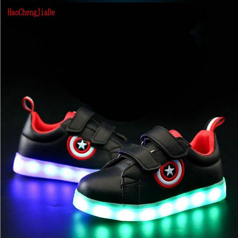 69794a4c636 Goede Kopen Captain America Kinderen Gloeiende Schoenen Led lichtgevende  Sneakers Jongens Meisjes USB Opladen Sport Licht Casual Schoenen Voor  Kinderen ...