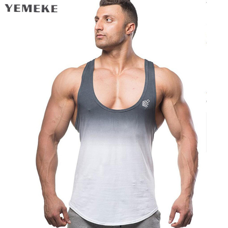 YEMEKE Gyms tank tops Bodybuilding Clothing Fitness Men Cotton golds gyms Stringer Sleeveless Shirts Muscle tank top singlets