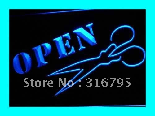 i272 Open Hair Cut Scissors Shears Sign LED Neon Light NR On/Off Switch 20+ Colors 5 Sizes