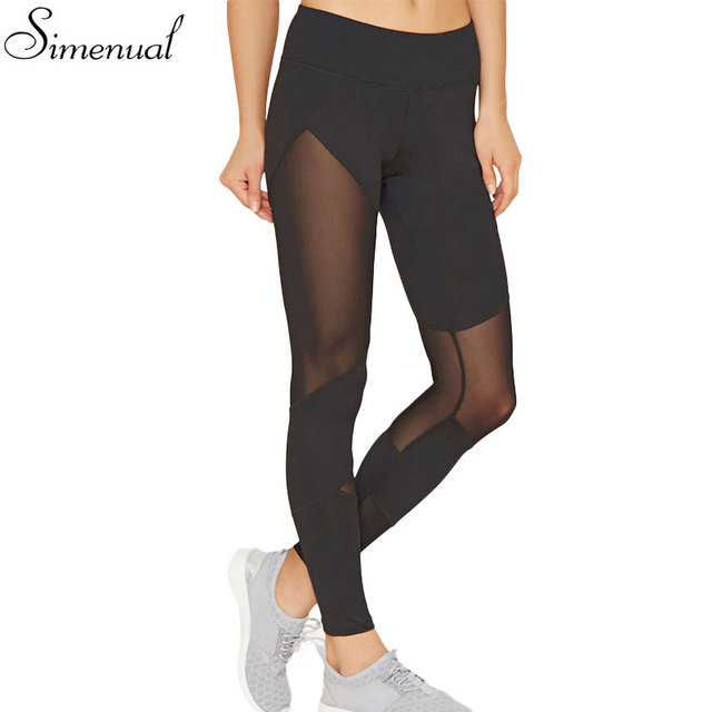 2017 New arrival mesh splice women's legging fitness slim hollow out sexy black athleisure legging pants female hot jeggings
