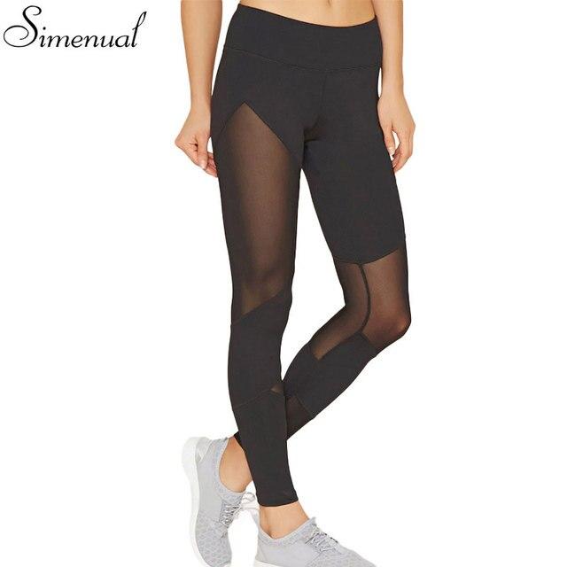2017 Nueva llegada de malla de empalme de las mujeres de legging gimnasio delgado hollow out sexy negro athleisure jeggings legging pantalones femeninos caliente
