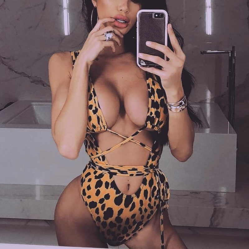 Hot Sale Sexy Leopard Monokini Bandage One Piece Swimsuit May Women Fused Spring Summer 2019 Swimwear Female Beach Swimming Suit image