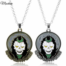 MQCHUN 2 Colors Movie Jewelry Suicide Squad Witch The Enchantress Pendant Necklace DC Marvels Superman Metal Statement Necklace