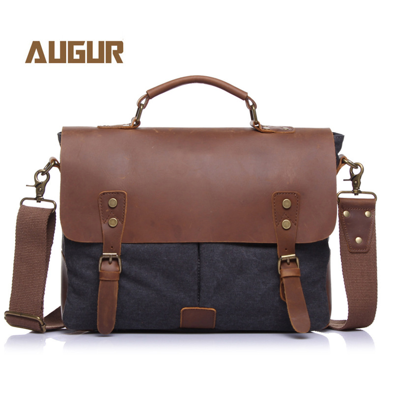 Men's Briefcase in Canvas Bag Crossbody Bag with Crazy Horse Leather Cross-Border Supply Men's Bags