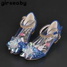 087458bc8b Girseaby Calçados Infantis para Meninas De Salto Alto bombas Princesa  sapatos de couro para Crianças 095 Cristal Glitter Partido.
