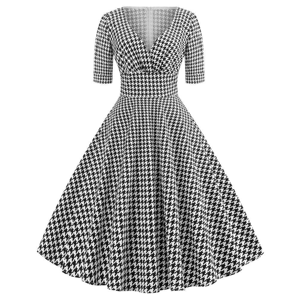 Женское Повседневное платье пачка с v образным вырезом и принтом «гусиные лапки»