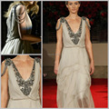 New Design vestidos meninas Beach Beading V-neck Tiered Long Chiffon Celebrity Dress Awards Dress Evening