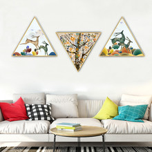 Nordic cartoon style restaurant decoration painting childlike home mural kitchen Hanging