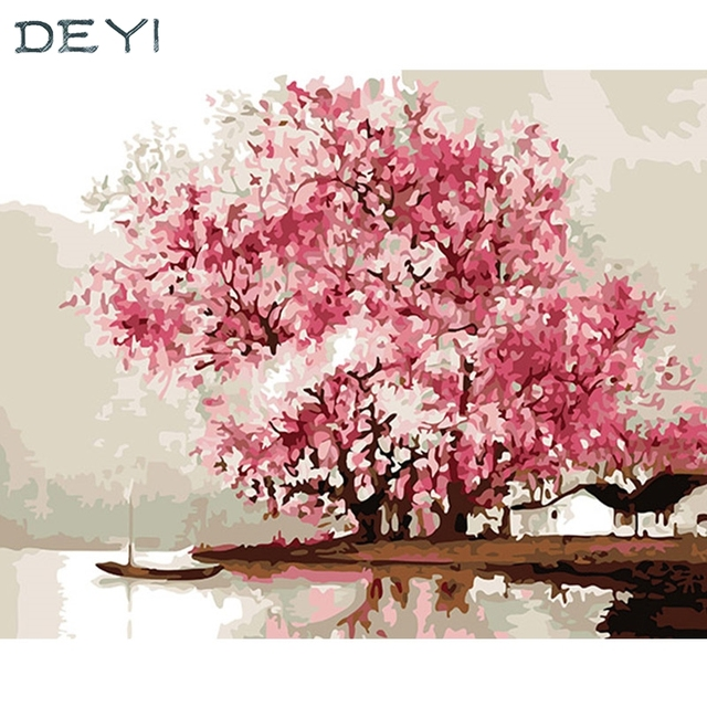 DEYI 40*50cm Hand Oil Painting winter Plum Blossom Decorative Linen ...