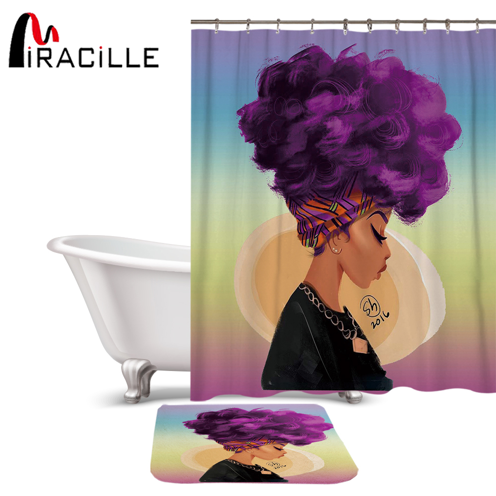 Miracille Fashion African Woman Pattern Waterproof Polyester Fabric Shower Curtain Set Non Slip Rugs Carpet for Bathroom Toilet