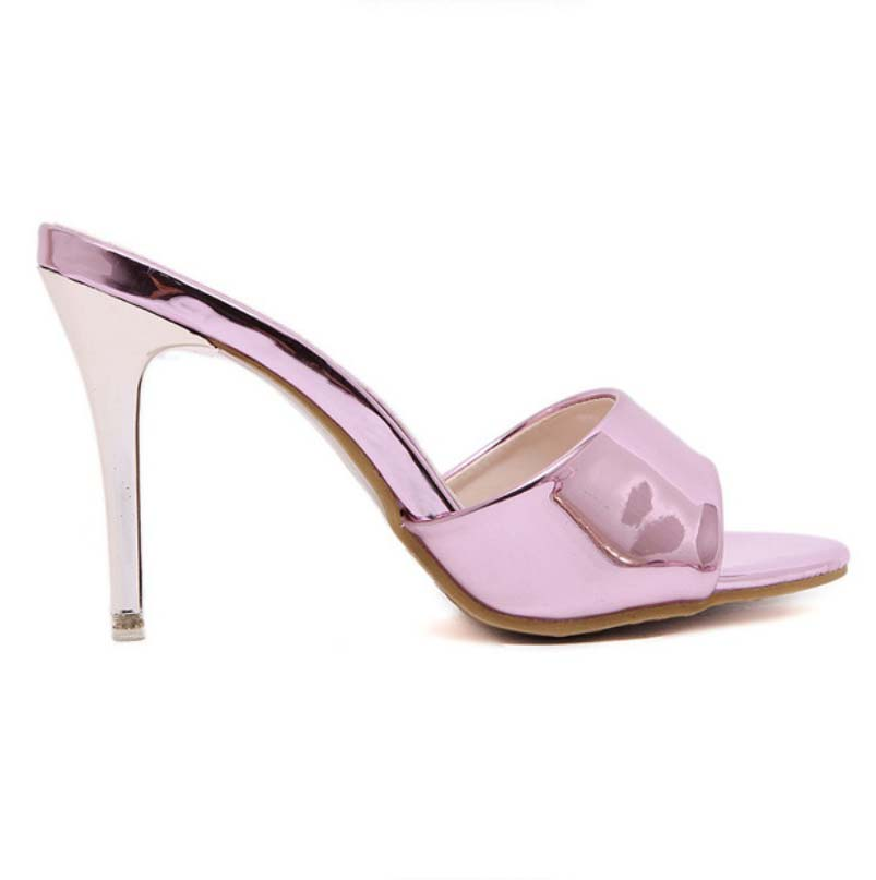 Wedding High Heels Sandals: Gold Pink Nice Cool Patent Leather Open Toe Mules Sandals