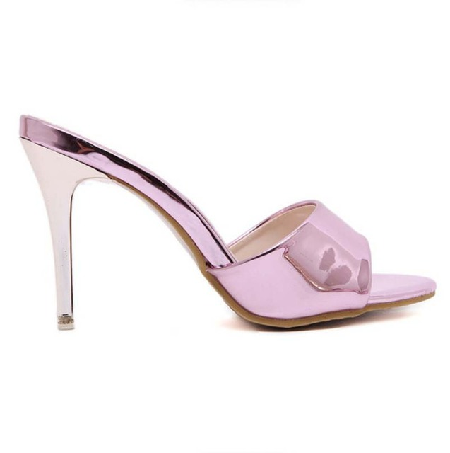 bd0df47a2 Gold Pink Nice Cool Patent Leather Open Toe Mules Sandals Wedding Shoes High  Heels Summer Elegant Bridesmaid Sandals Slides
