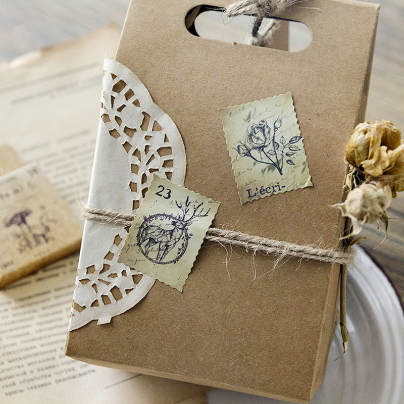 46Pcs box Vintage Forest Animal plant Stamp Sticker Scrapbooking Creative DIY Journal Decorative Adhesive Sticker Label Supplies in Stationery Stickers from Office School Supplies